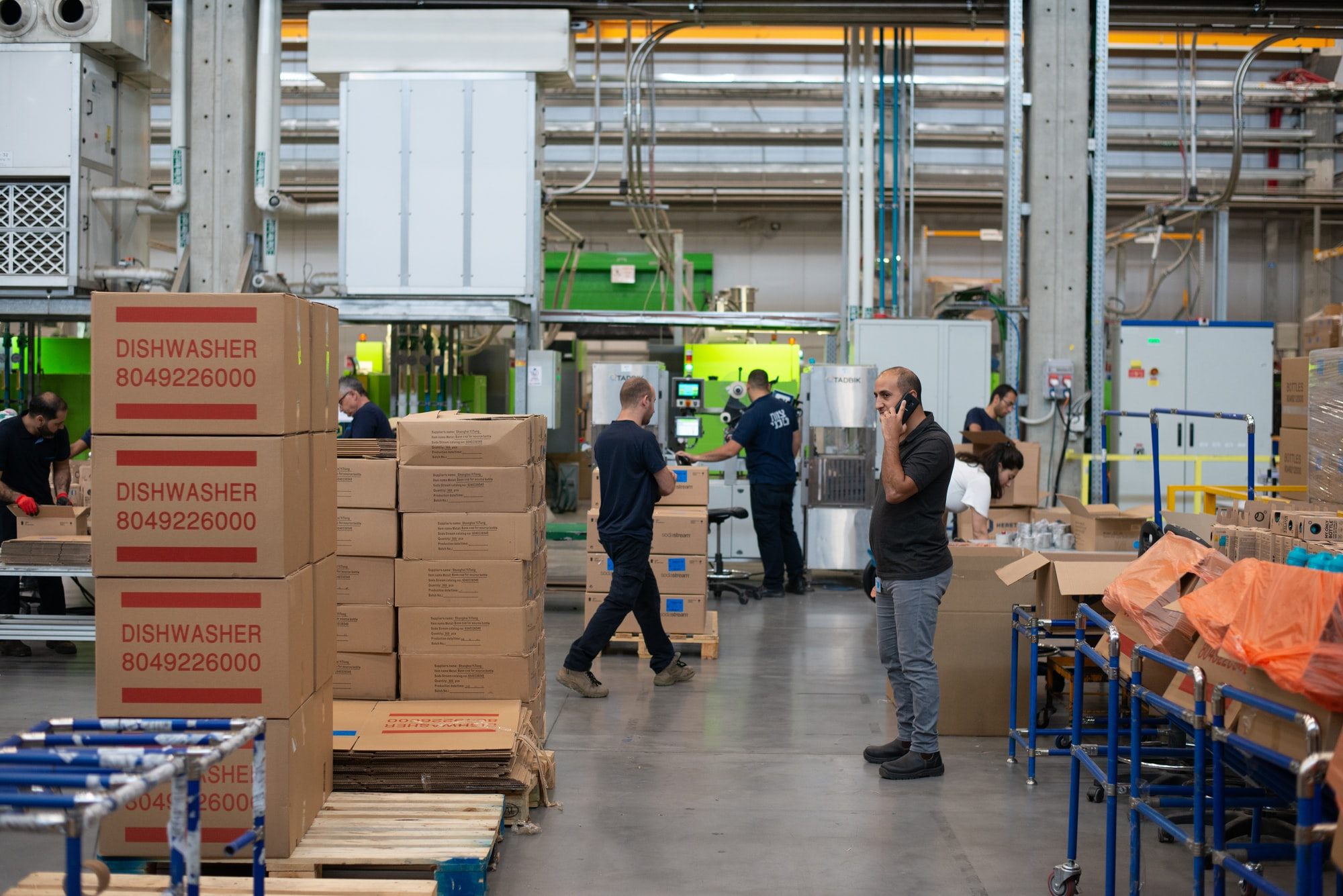 People working at the SodaStream factory in Israel.