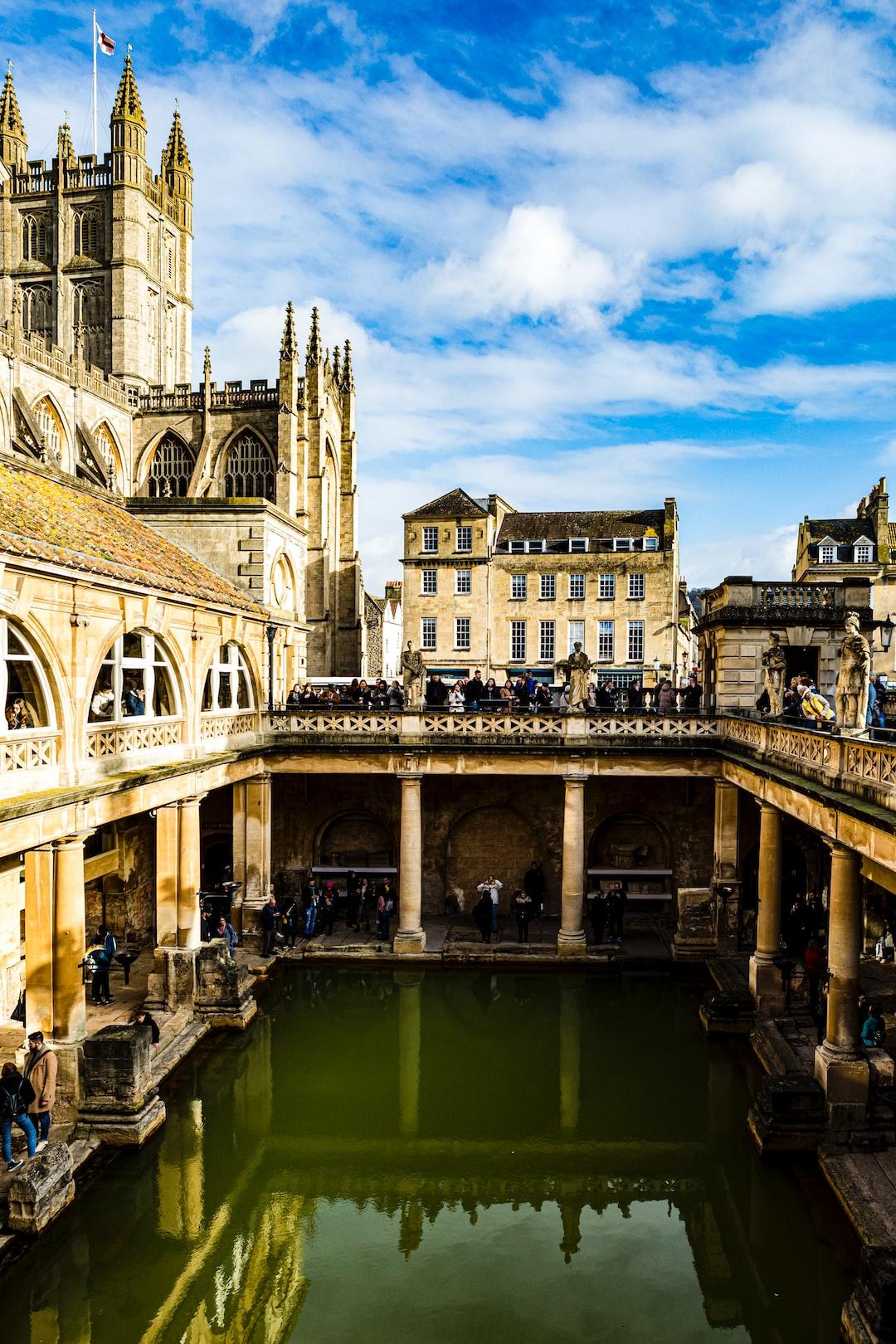 Antique historic landmark Roman Baths in Bath England UK, February 2020.