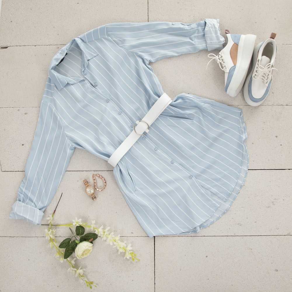 blue and white striped long sleeve shirt