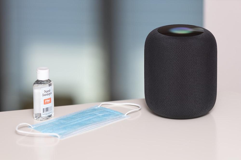 black and white portable speaker