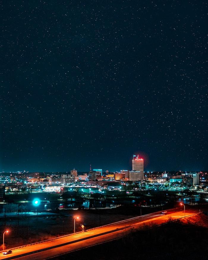 Waco city skyline with stars in sky