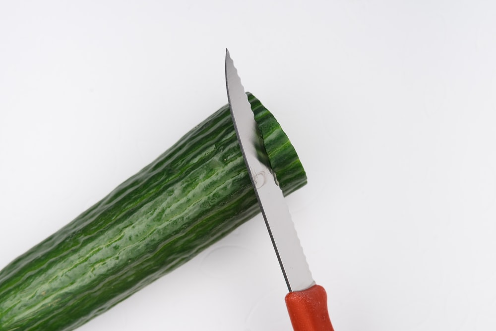 red and silver scissors on green vegetable