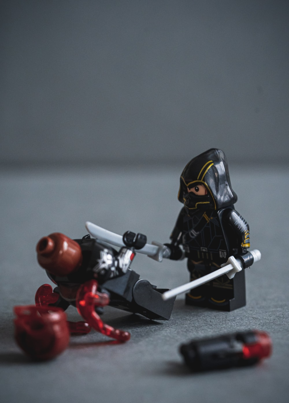 black and red robot toy