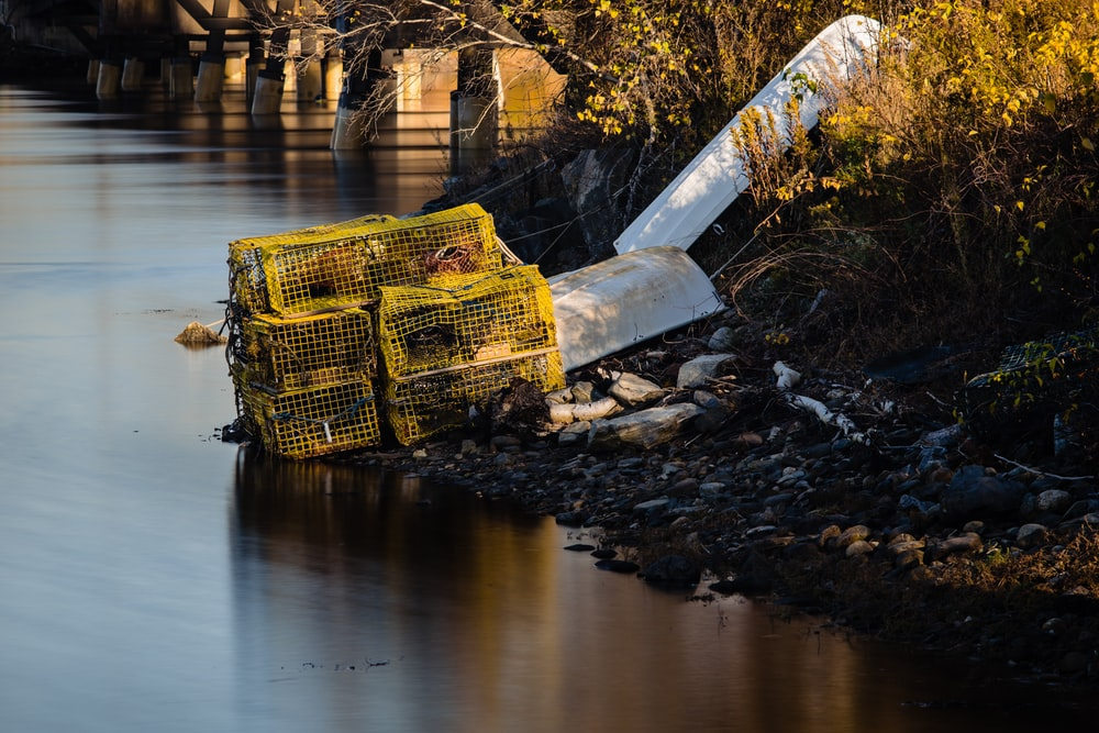 yellow and black metal crate on brown wooden dock over river