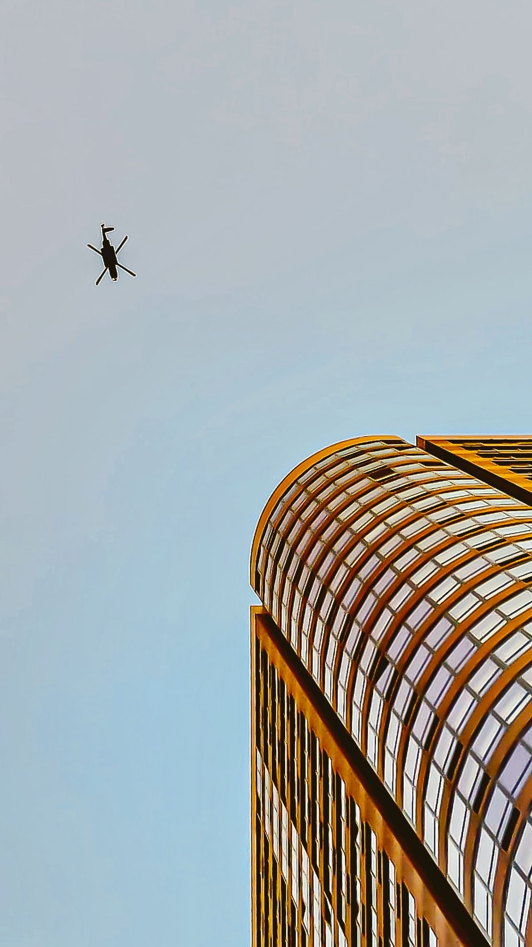 Helicopter flying over Manhattan on Sept 11. 2019.