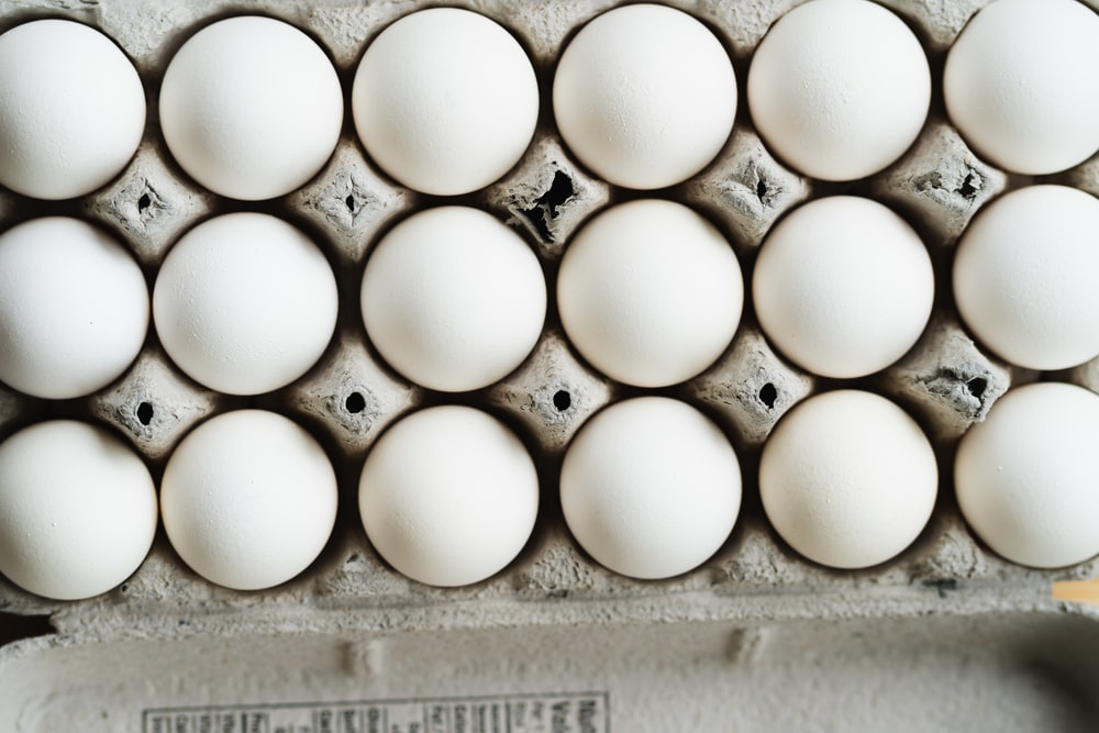 white eggs on white egg tray