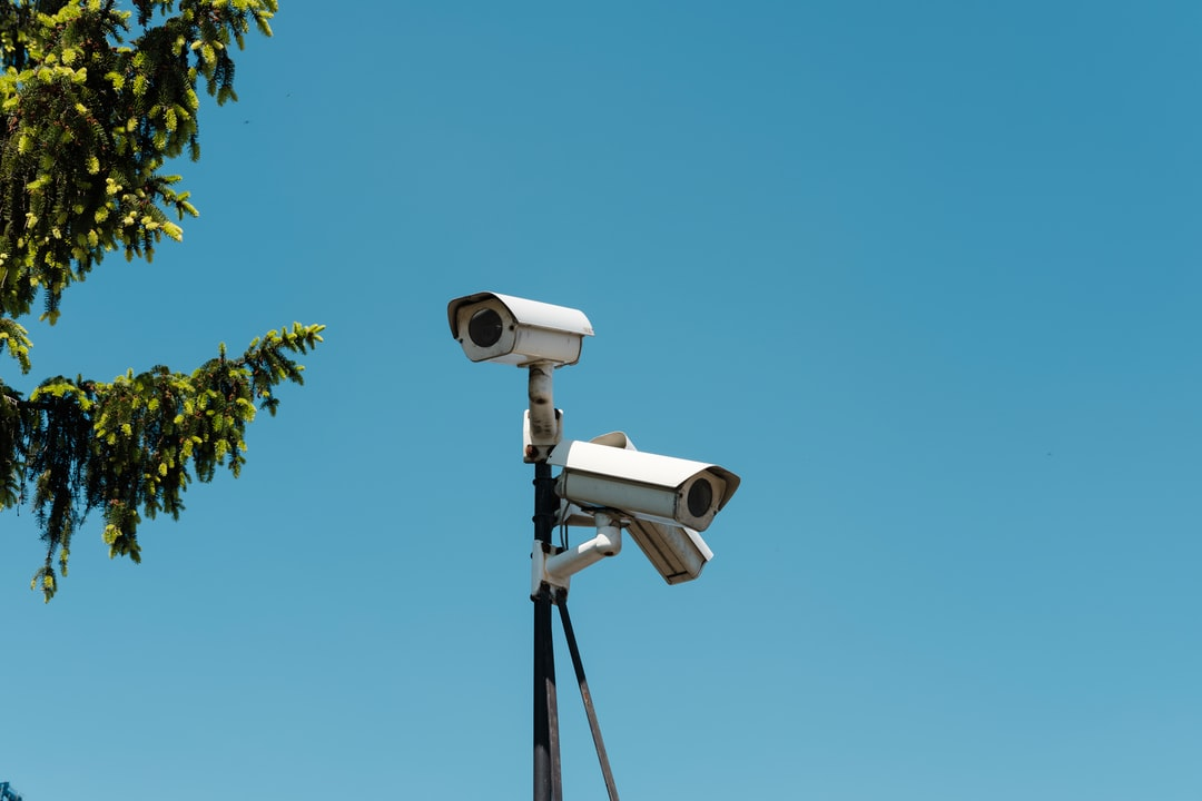 Surveillance camera, security, CCTV, blue sky