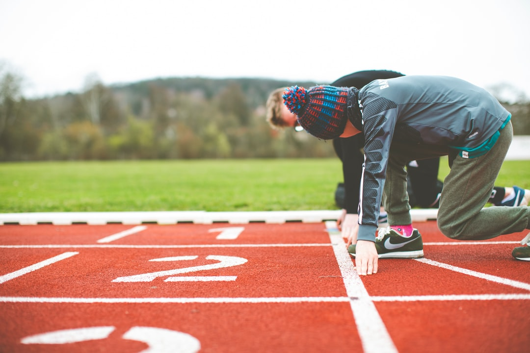 Plastic tartan track and field athletics stadium start block