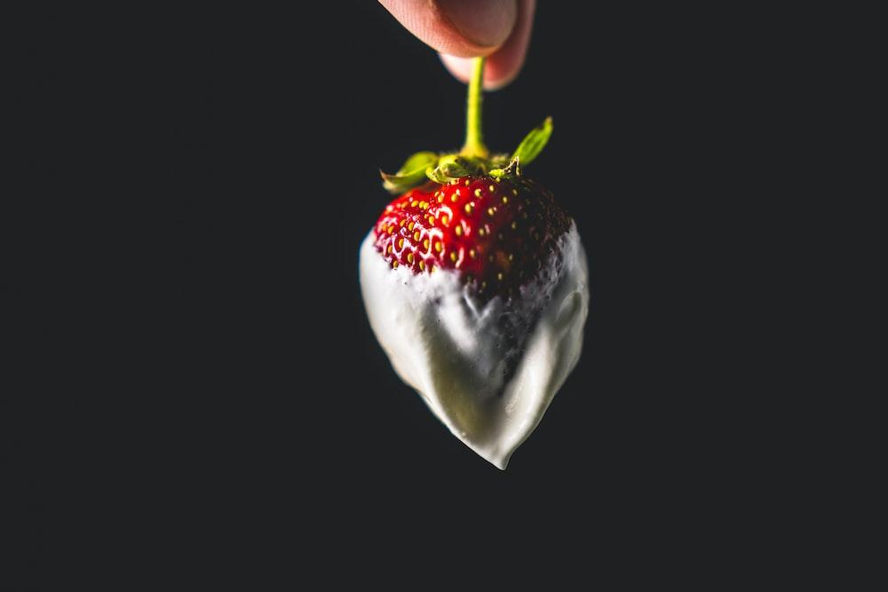 strawberry fruit with white cream