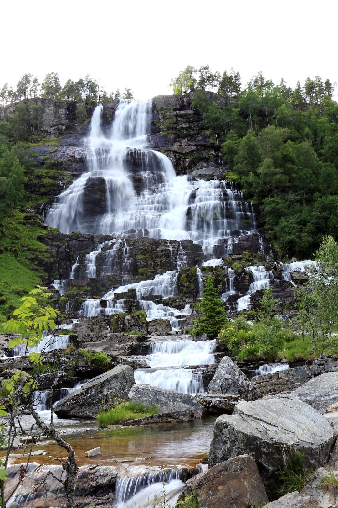 Impressive cascading waterfall: Trollafossen in South Norway