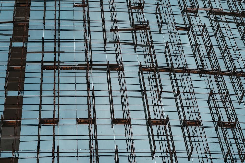 gray metal frame on wall