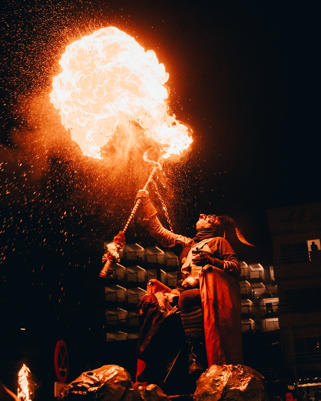 Devil spitting fire