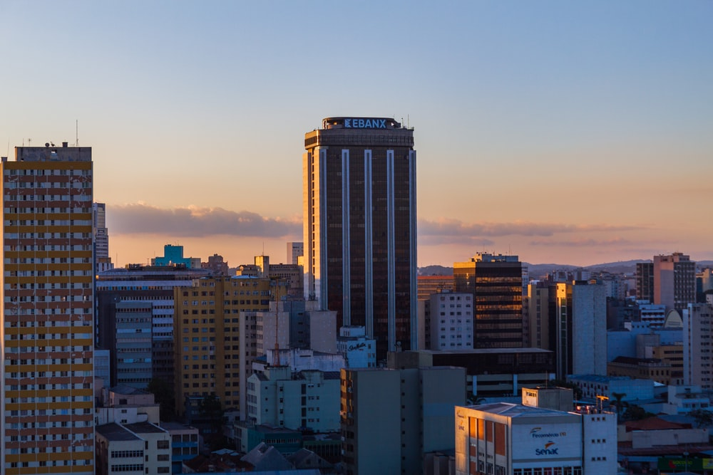 high rise building during sunset