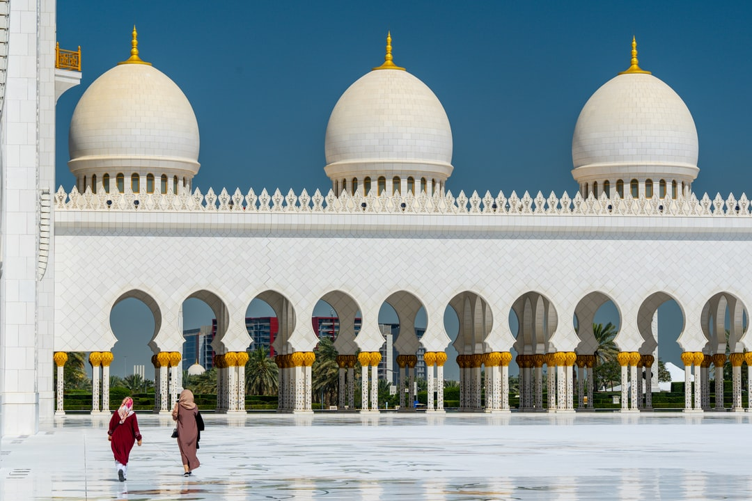 The courtyard of the Sheik Zayed Grand Mosque, Abu Dhabi, UAE.  A stunning building and one of the world's largest mosques.