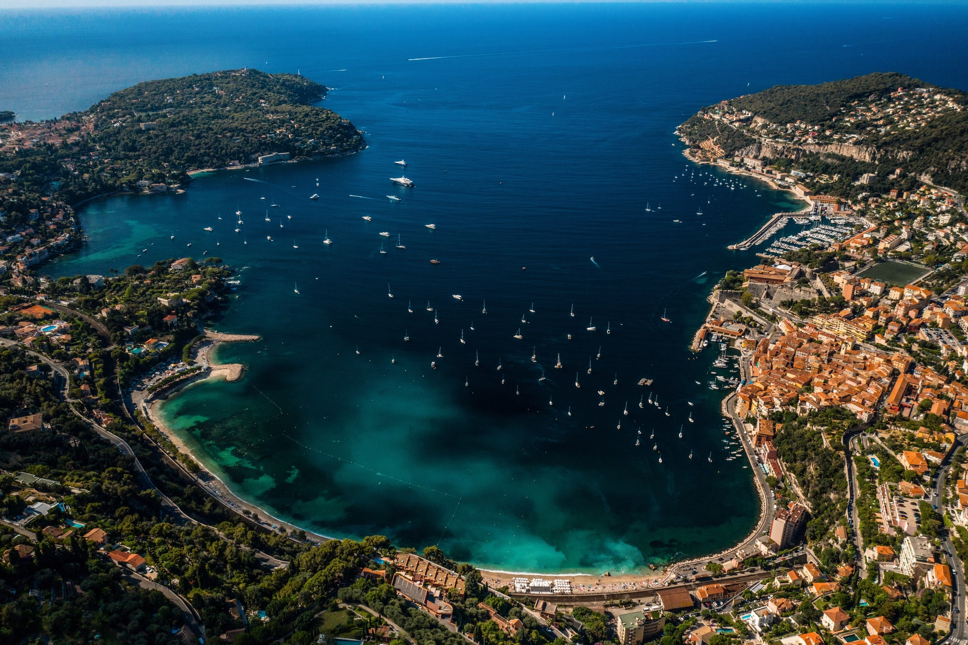 arial view of Villefranche-sur-Mer, France