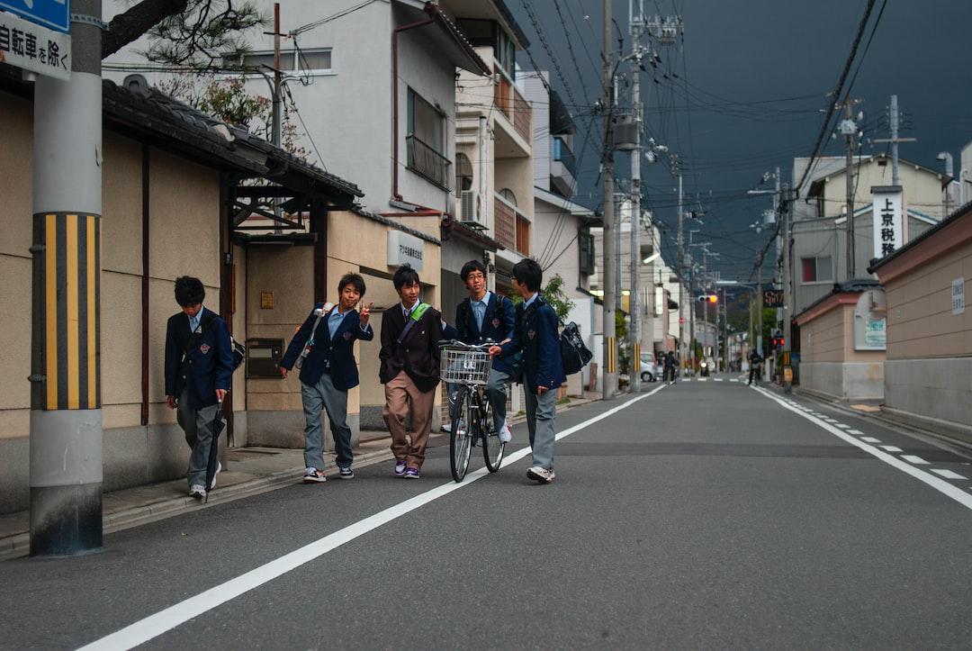Schoolchildren are going home from class.