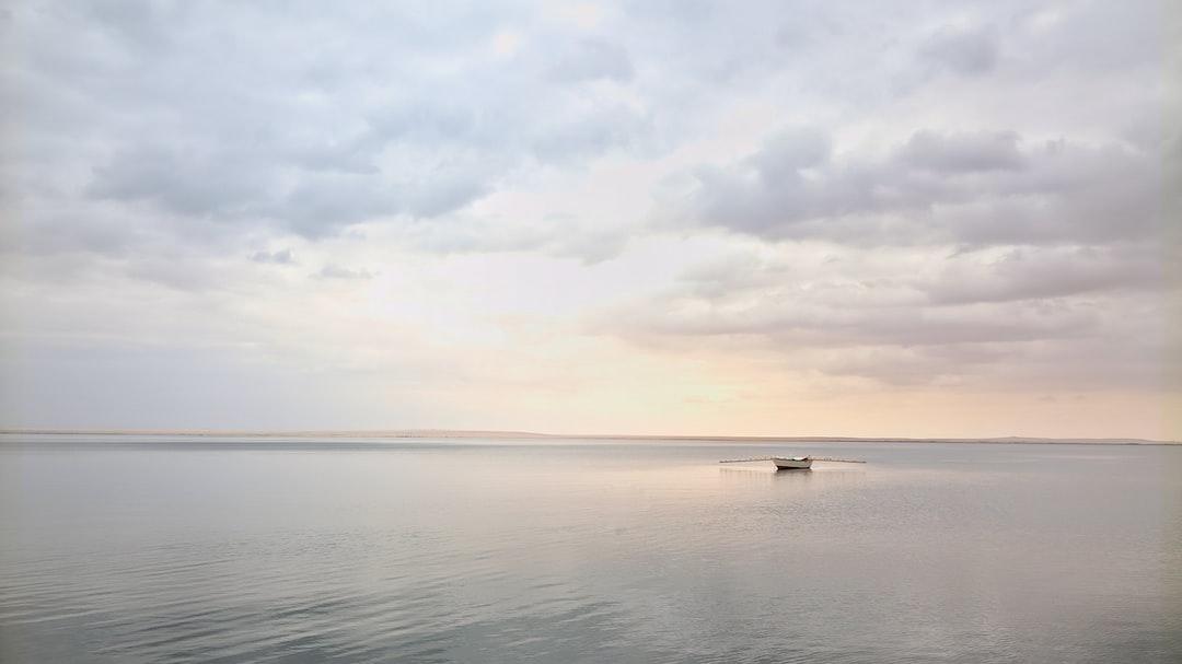 Solitary boat in Wadi El Rayan Lake ..