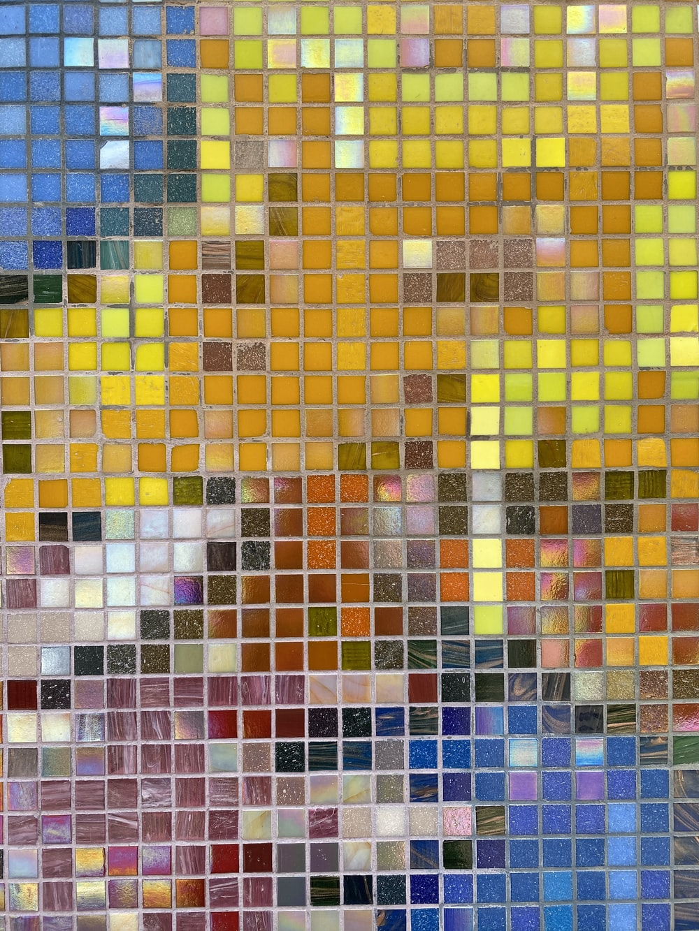yellow blue and white tiles