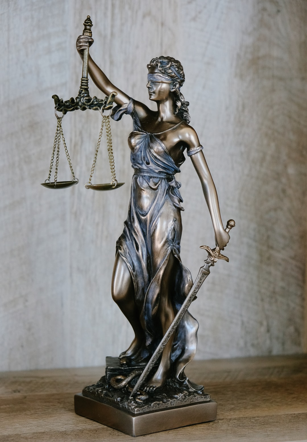 Lady Justice, an allegorical personification of the moral force in the judicial system.