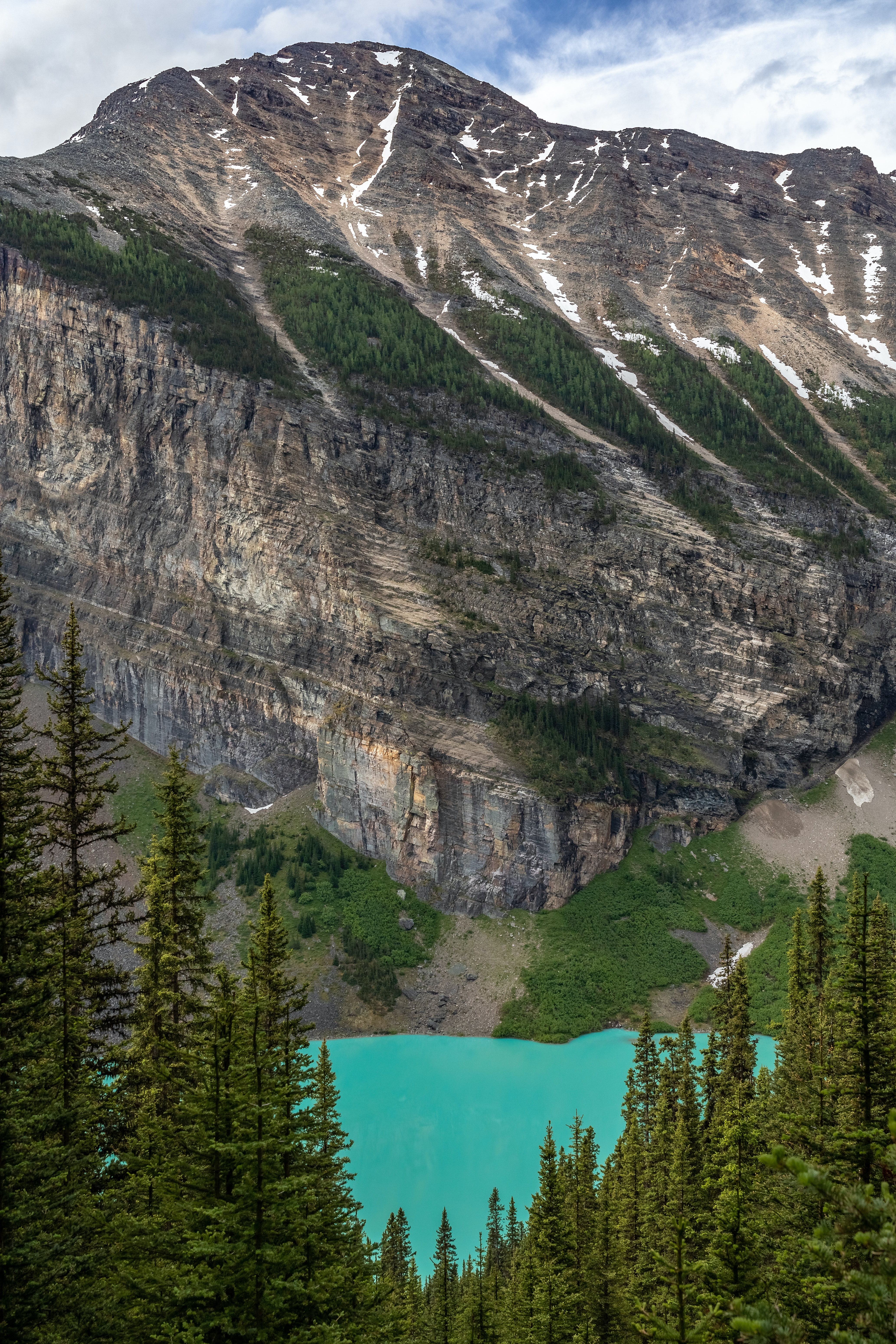 The rear part of Lake Louise as seen from the Lake Agnes Trail