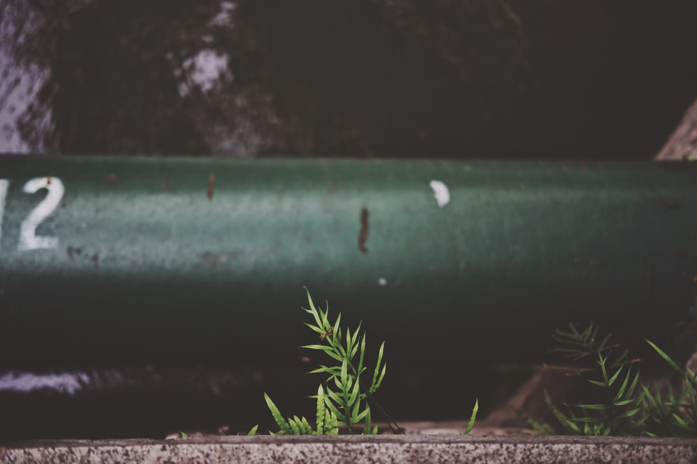 green metal pipe on brown soil