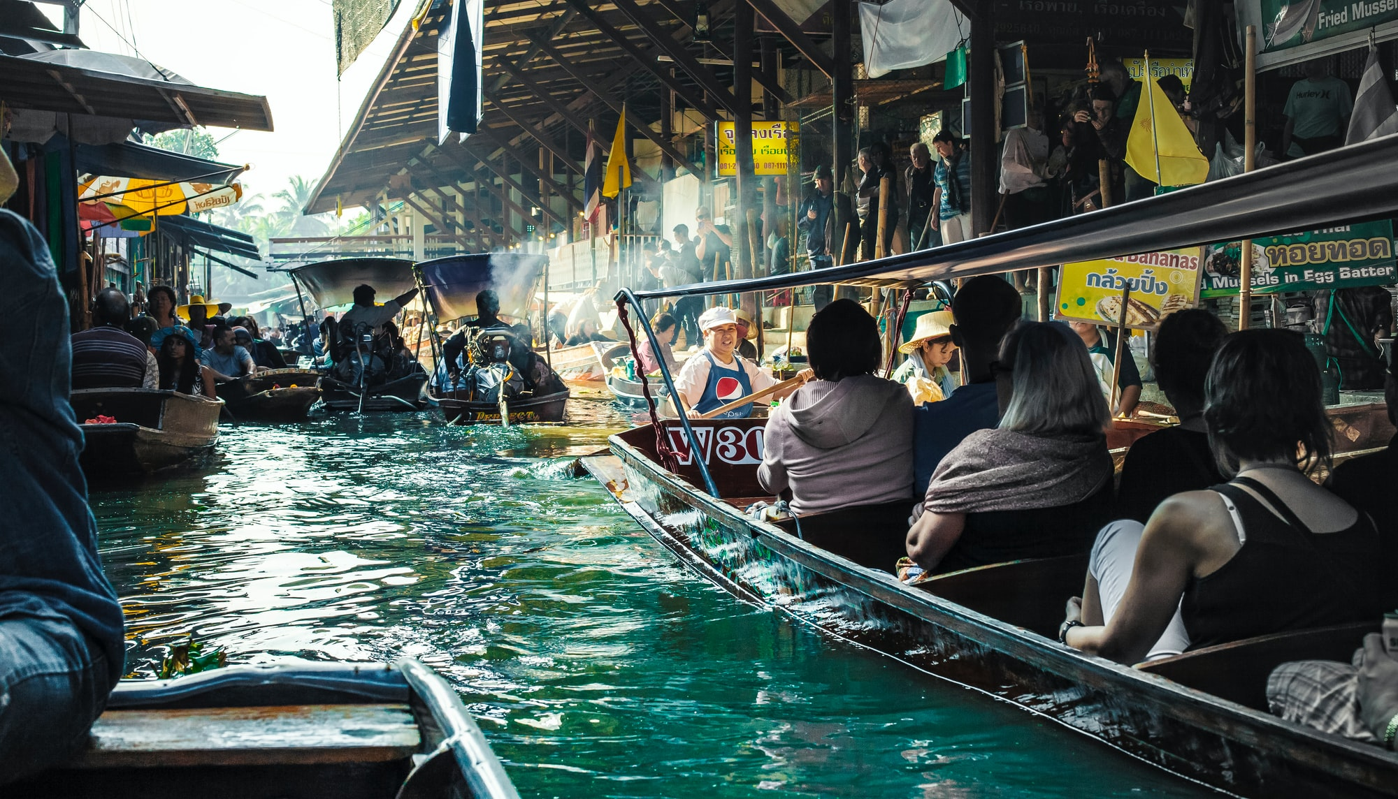 The Damnoen Saduak floating market is a more authentic floating marketing outside of Bangkok that has countless narrow canals, fragrances of spices and flavors washing over you moment after moment, fresh fruits piled high upon on rafts, and a raw experience that truly takes you as far away from what a market experience usually is.