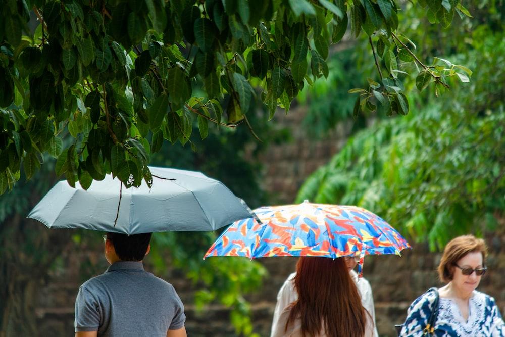 woman in gray long sleeve shirt holding umbrella