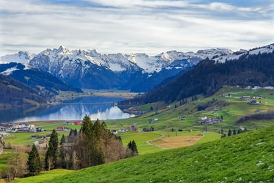 green grass field near lake under white clouds and blue sky during daytime switzerland teams background