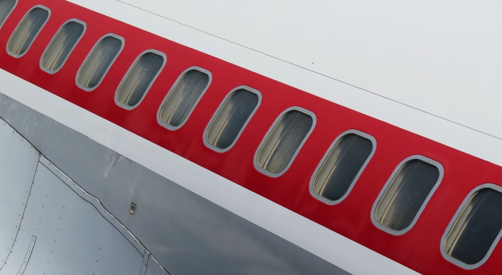 red and white airplane door