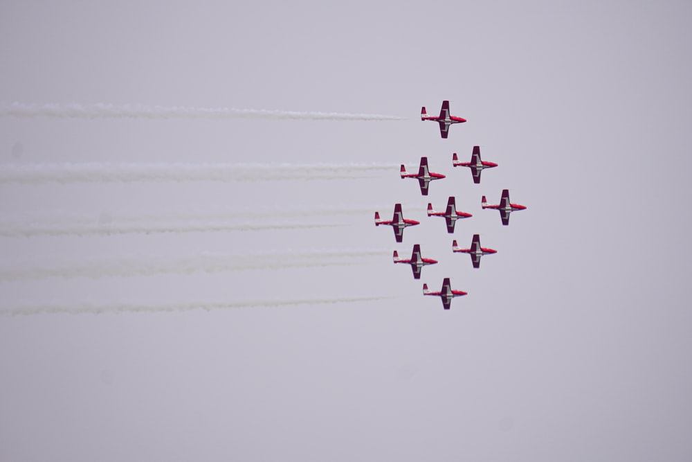 eight fighter plane in the sky