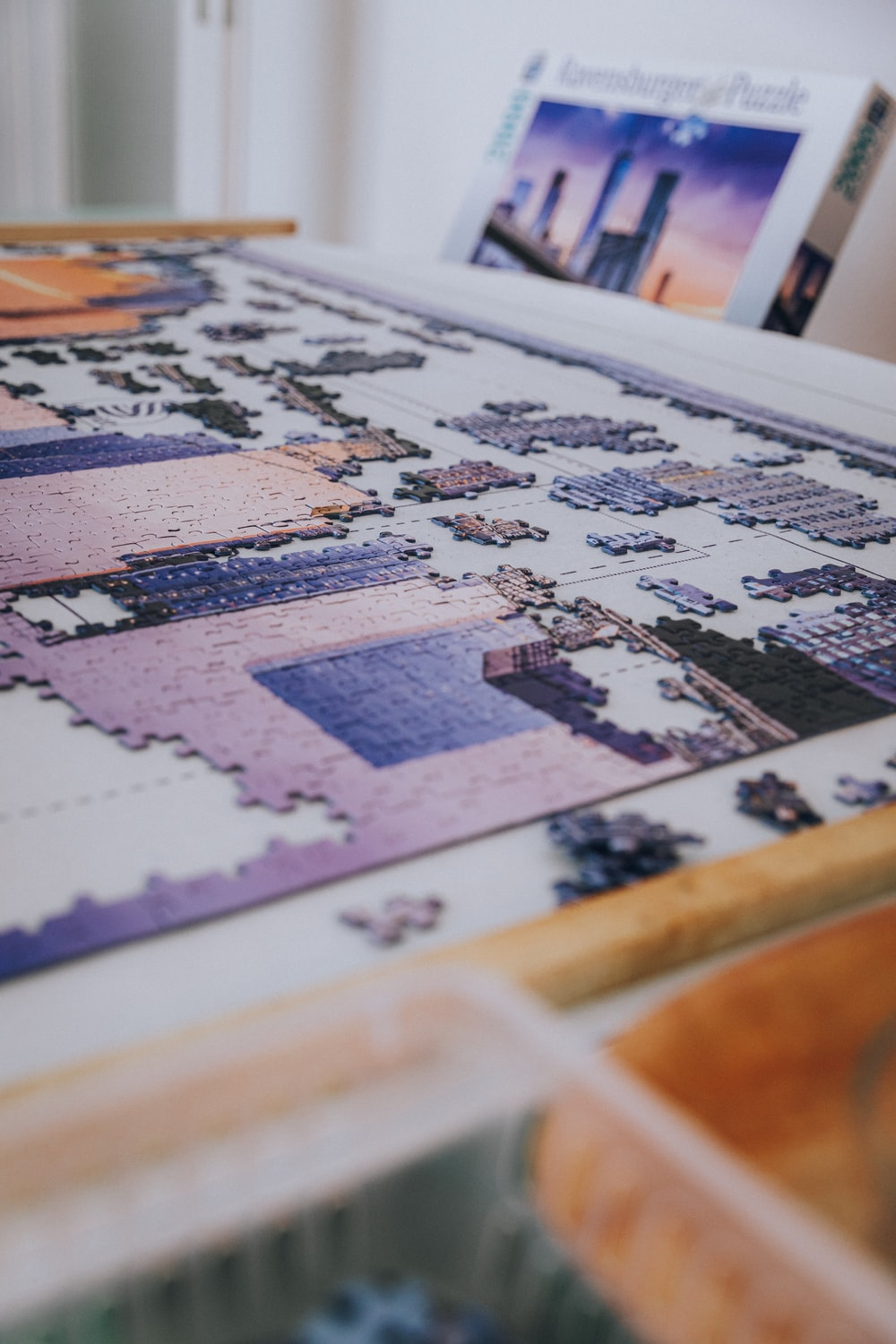 white blue and brown jigsaw puzzle