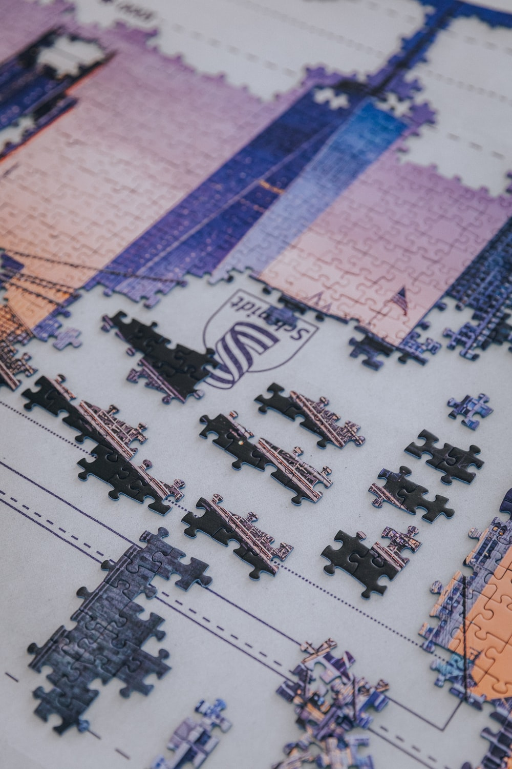 blue red and white jigsaw puzzle