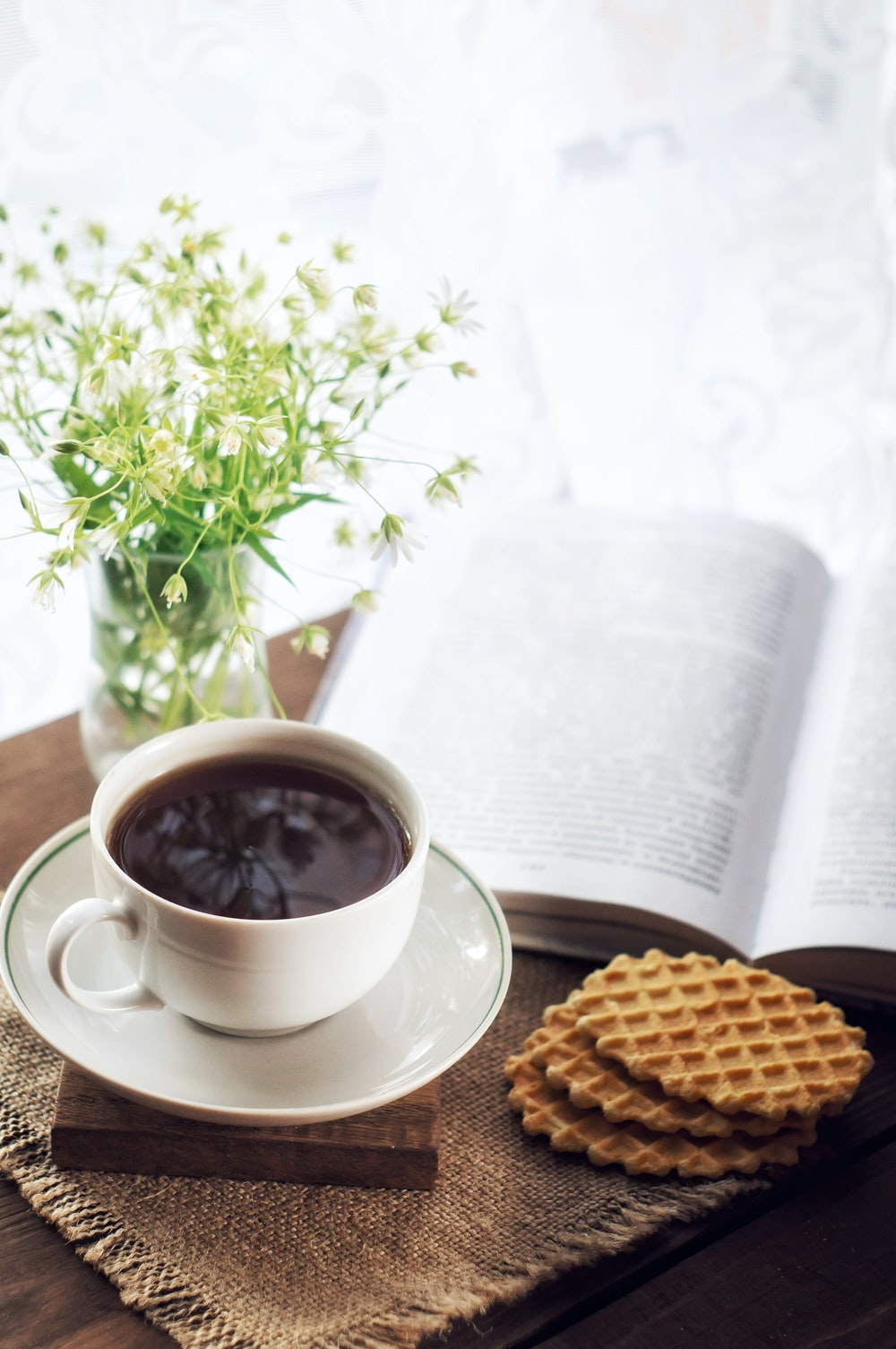 white ceramic cup with saucer beside brown cookies