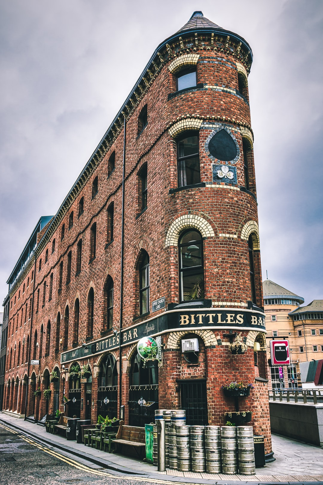The Flat Iron Building, home to Bittles Bar, in Belfast's shopping district (May, 2020).