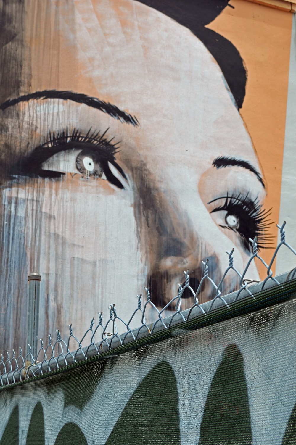 womans face graffiti on brown wooden wall