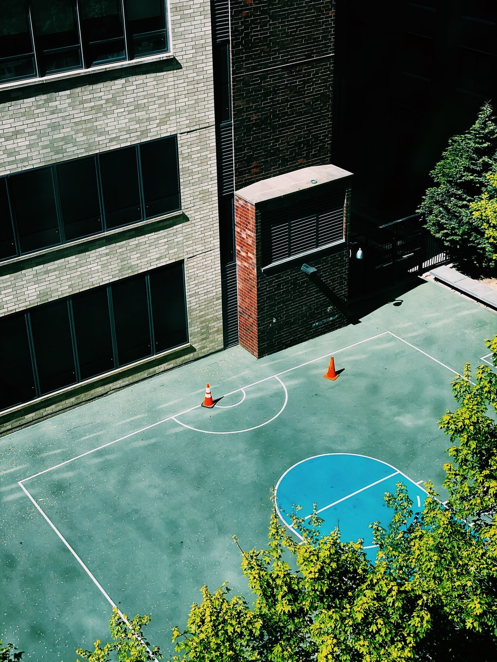green and white basketball court