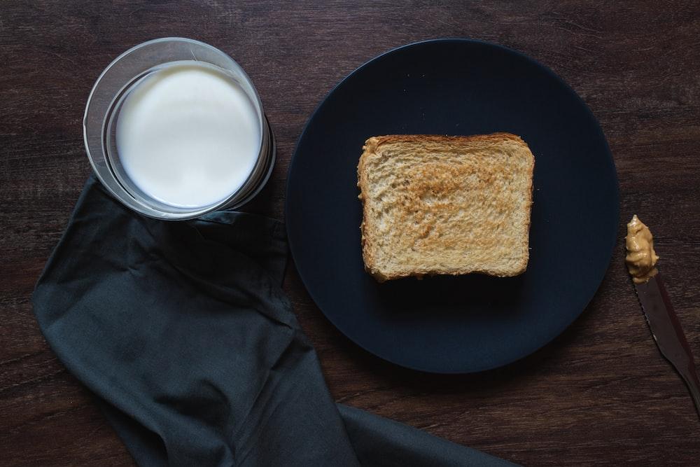 bread on black round plate