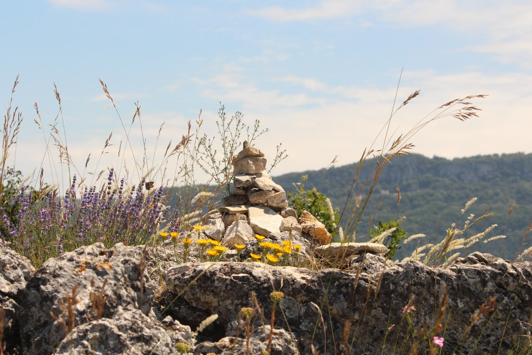 rock cairn in nature