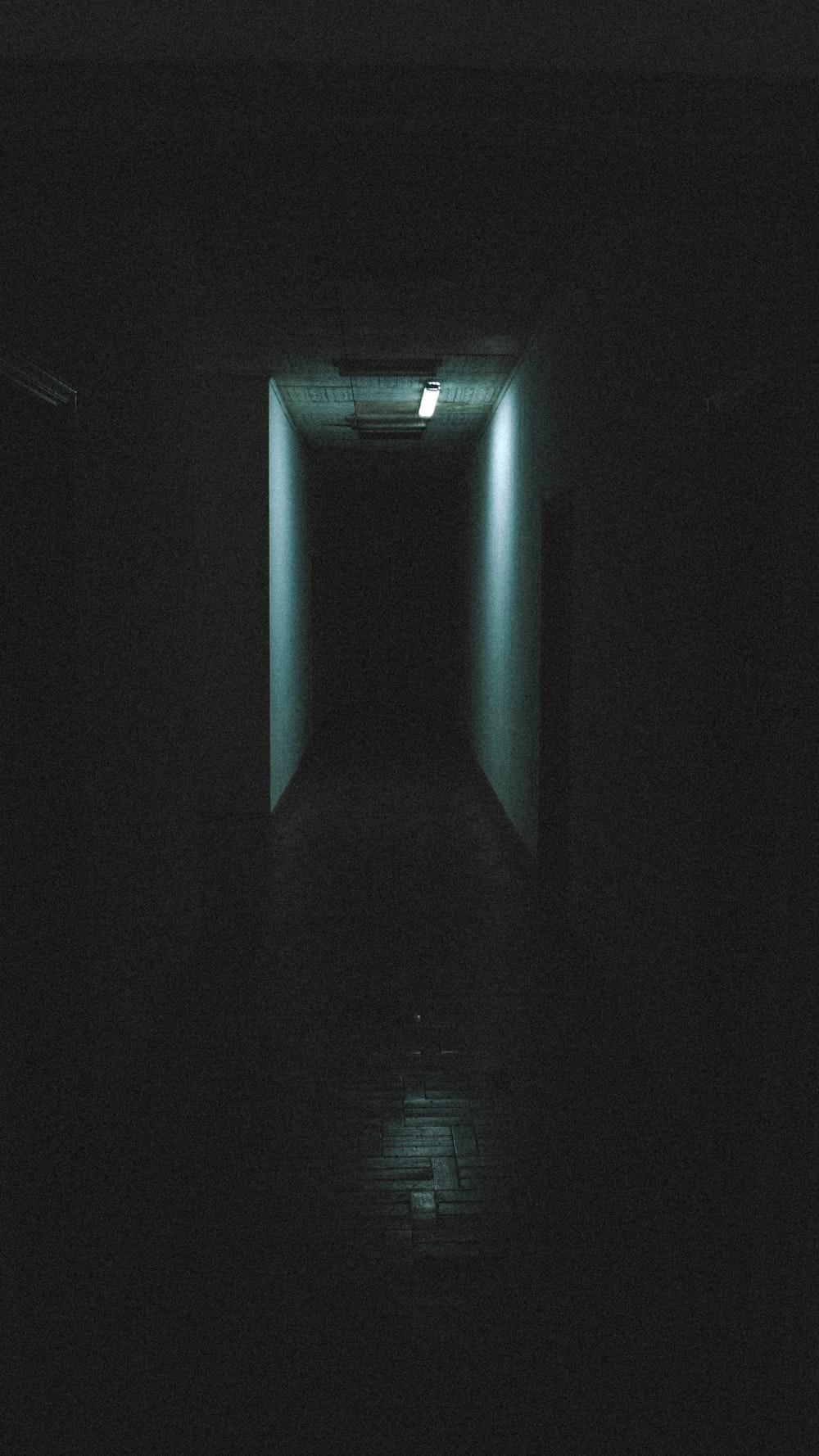 blue light in dark room