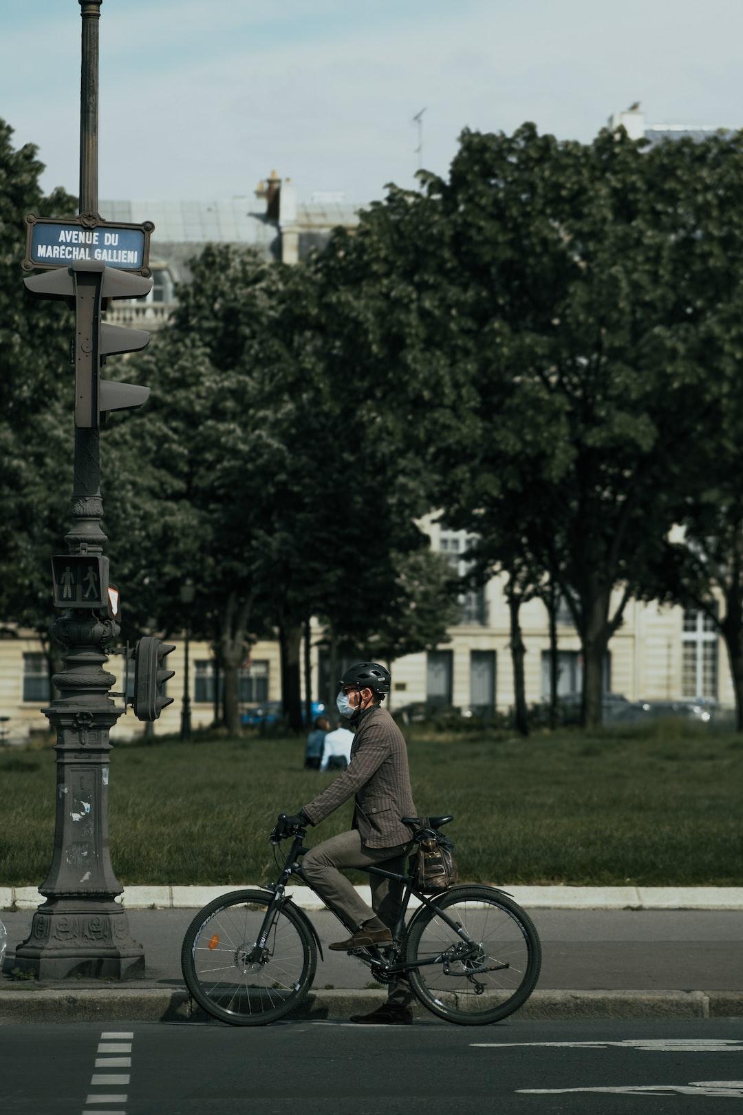 Man on a bike in Paris