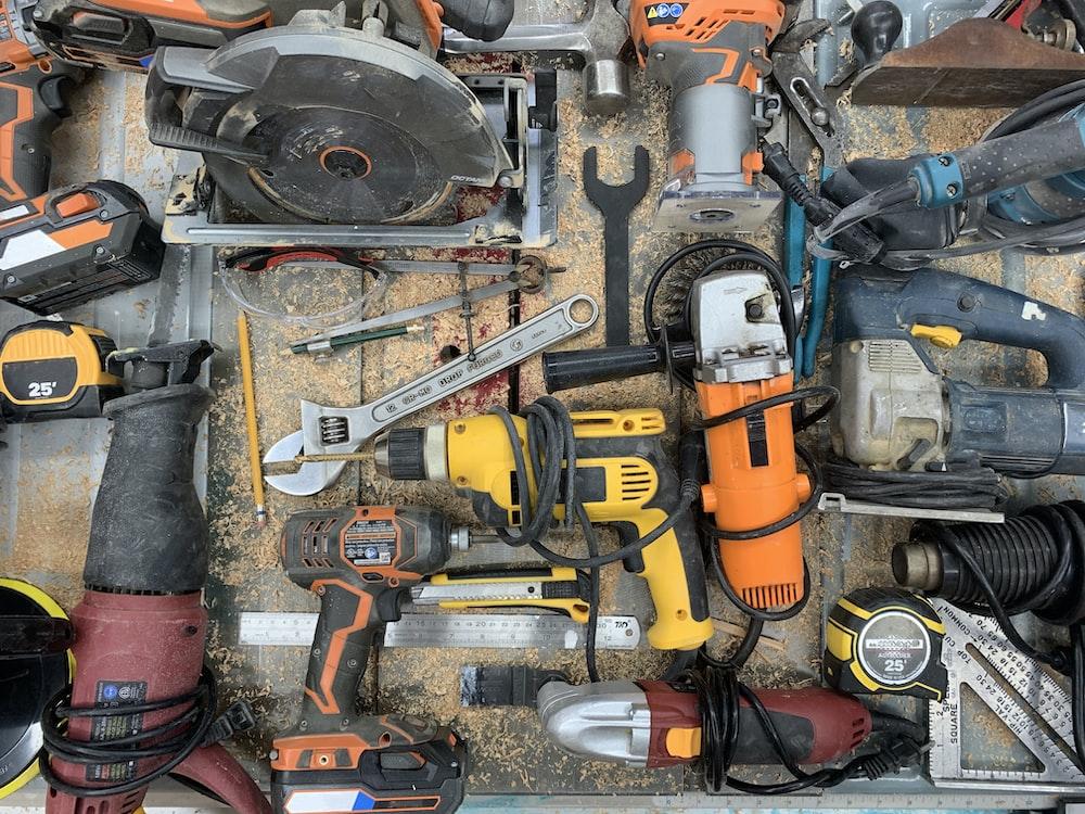 orange and gray cordless power drill
