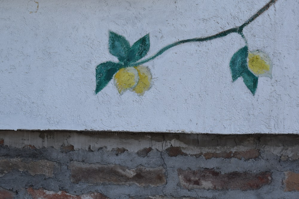 green and yellow flower wall art