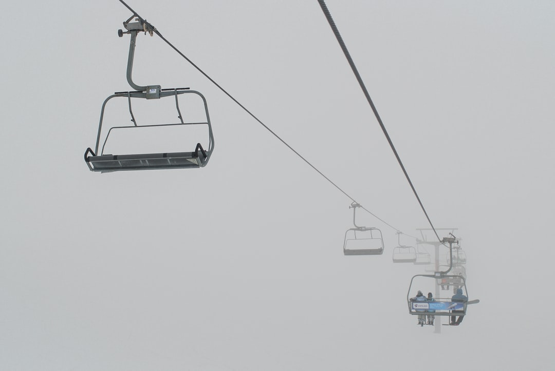 The cableway running in the clouds.