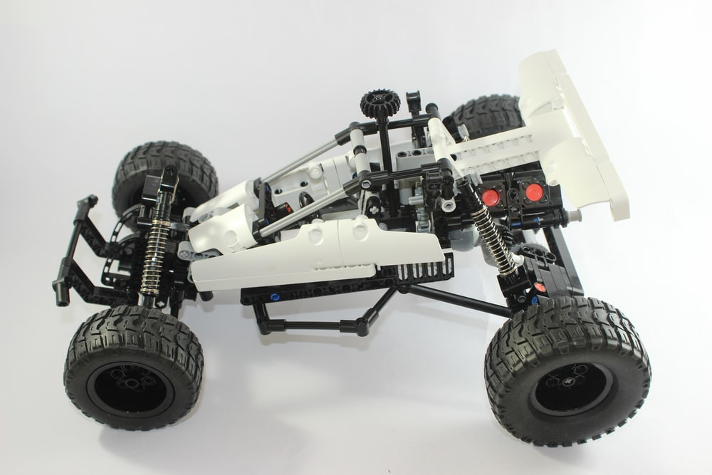 white and black lego toy
