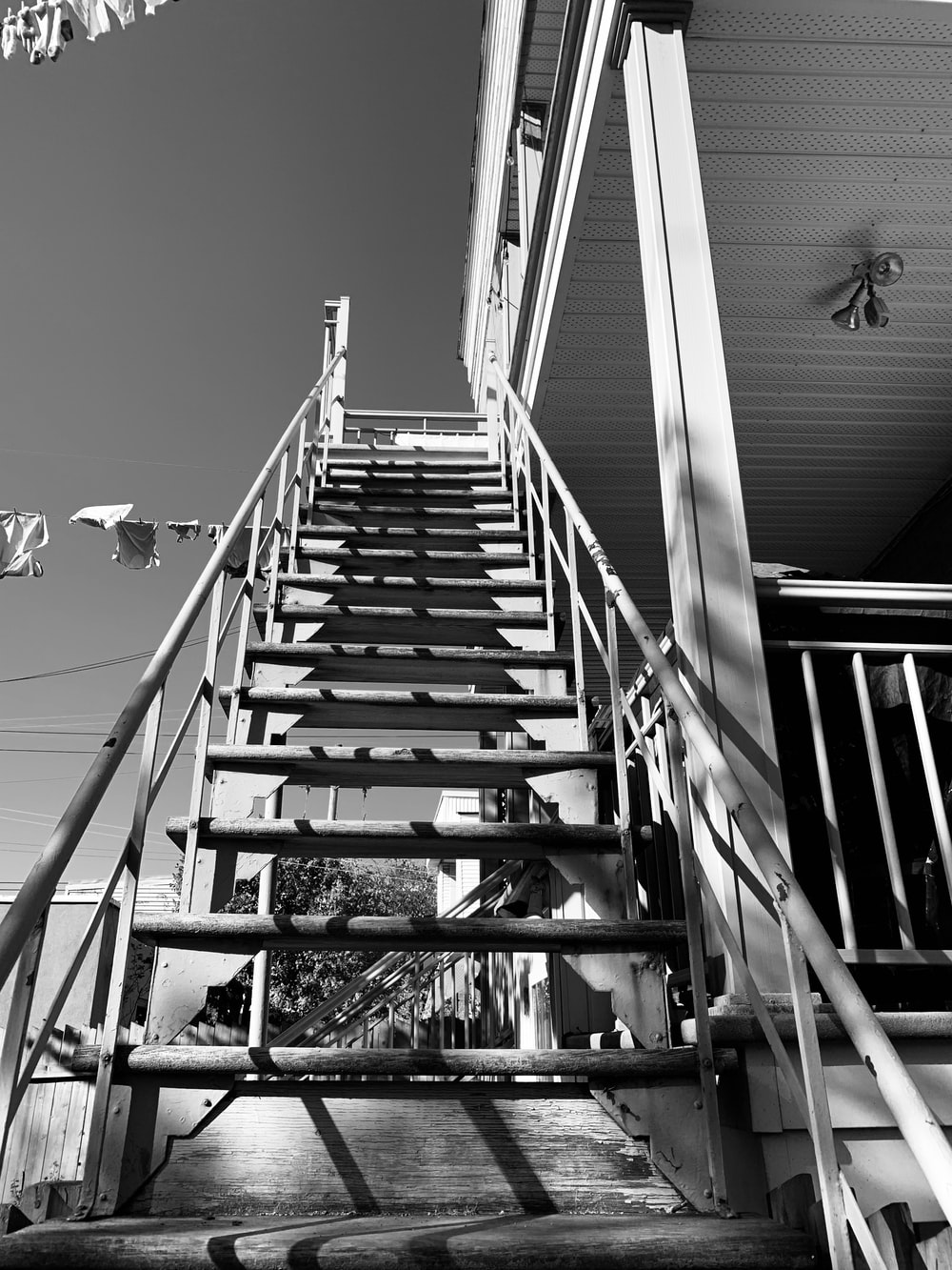 grayscale photo of a staircase