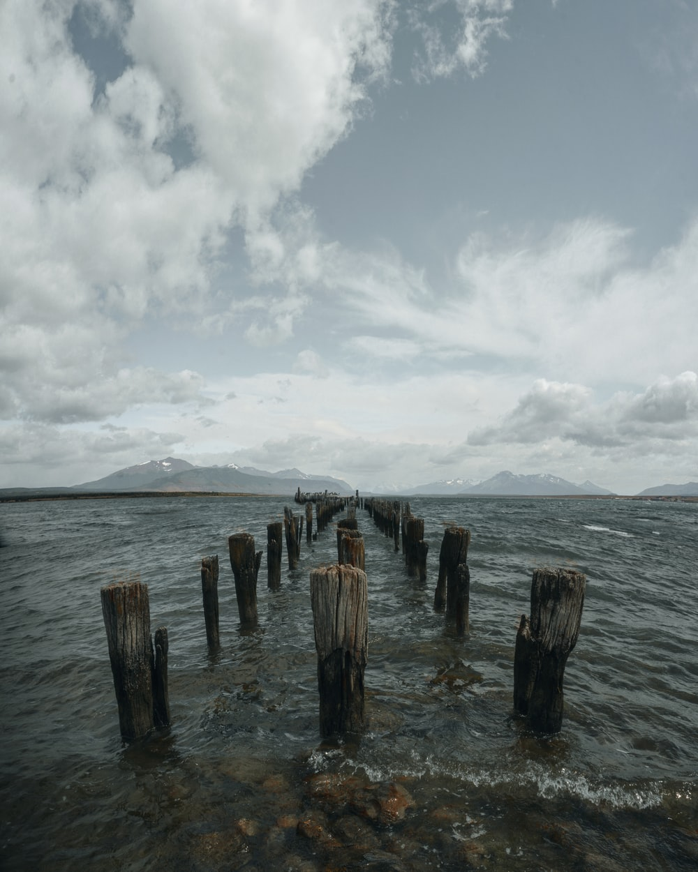 brown wooden post on sea under white clouds during daytime