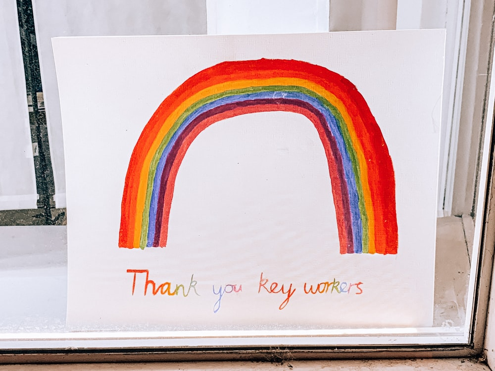 rainbow color heart on white paper