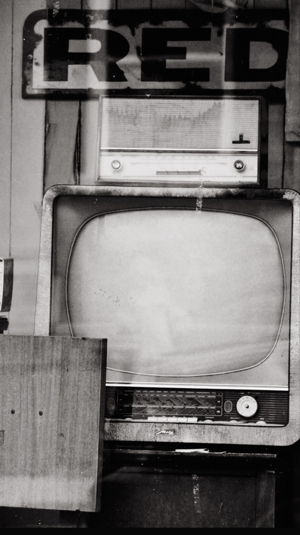 grayscale photo of crt television