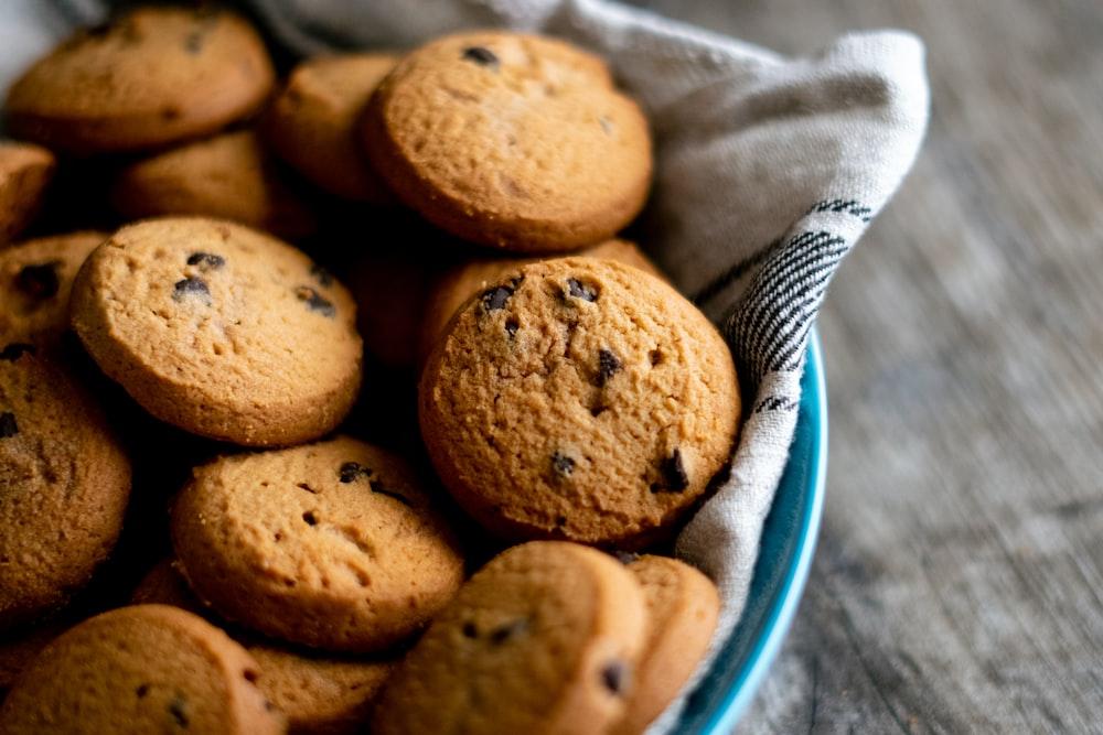 brown cookies on blue ceramic plate