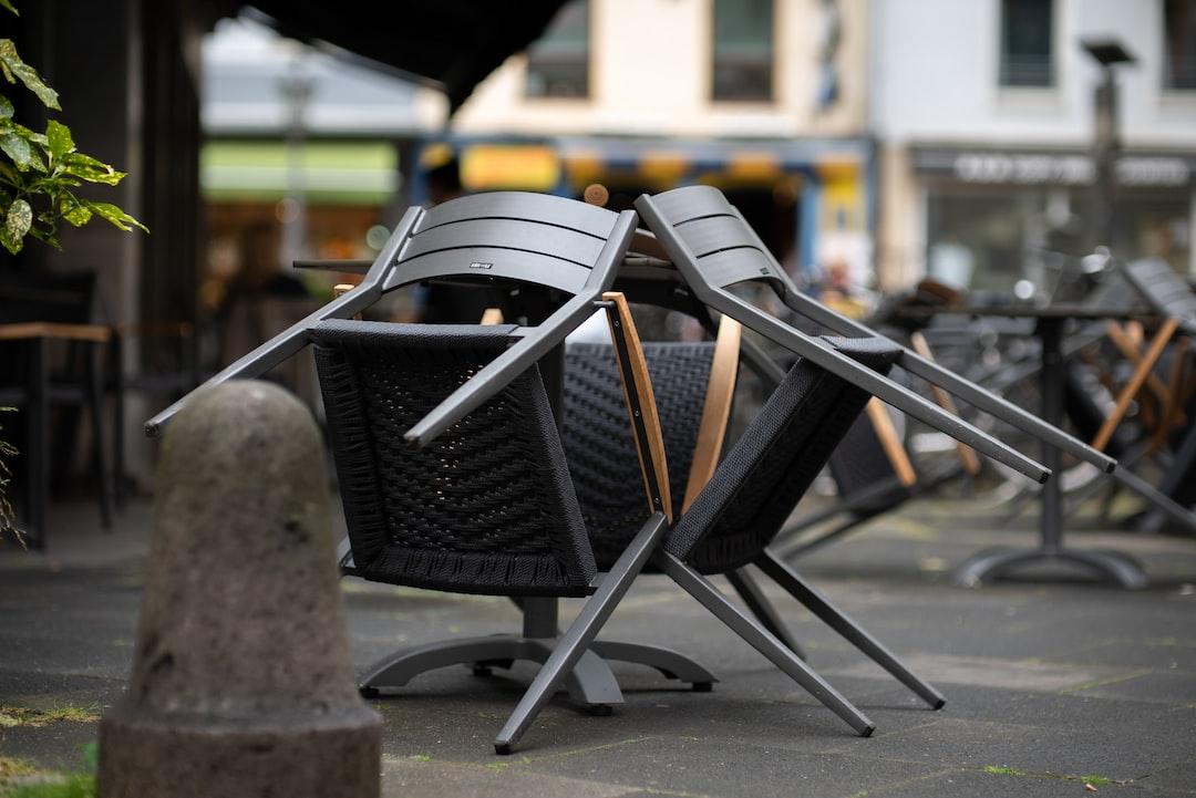 Empty seats outside of a restaurant in Bonn, Germany